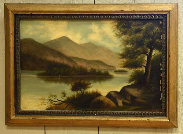 19th C. oil on artist board, view of lake Winnipesaukee, 12