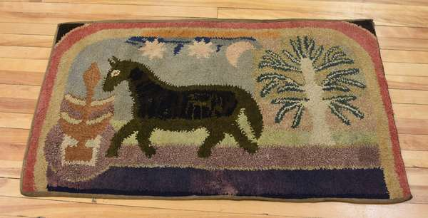 19th C. hooked rug, horse, trees, etc., 27