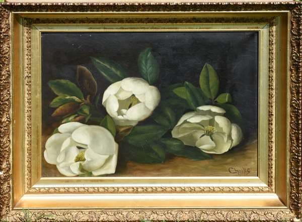 Victorian still-life oil painting, white flowers by Abby Chellis, 16