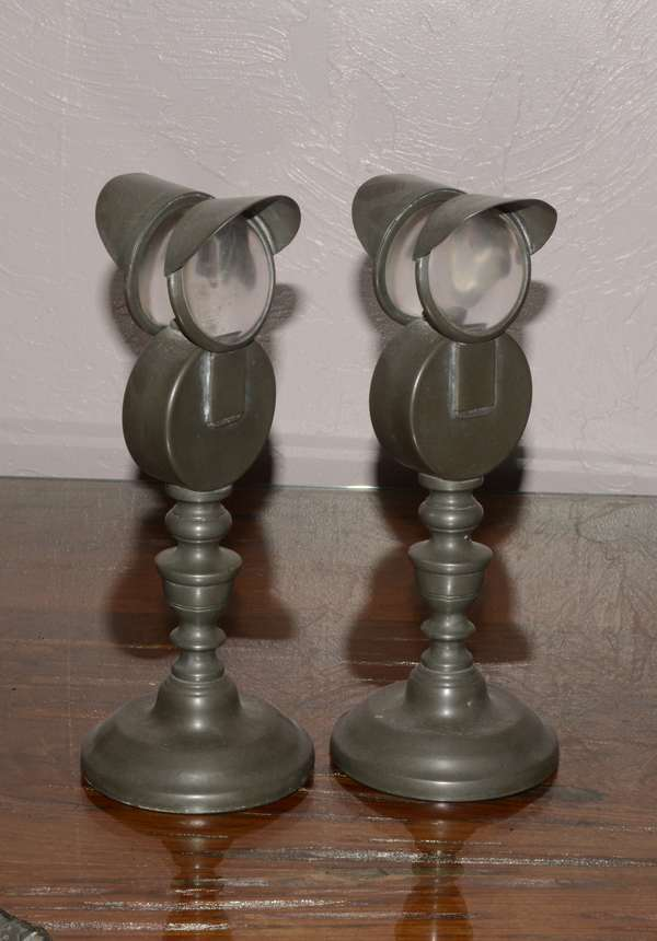 Pair of double reflector whale oil lamps, 10.5