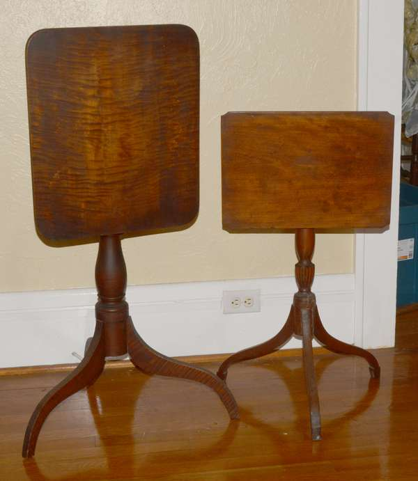 Two period Federal candlestands, large example tiger maple, old finish, other carved urn and spade feet
