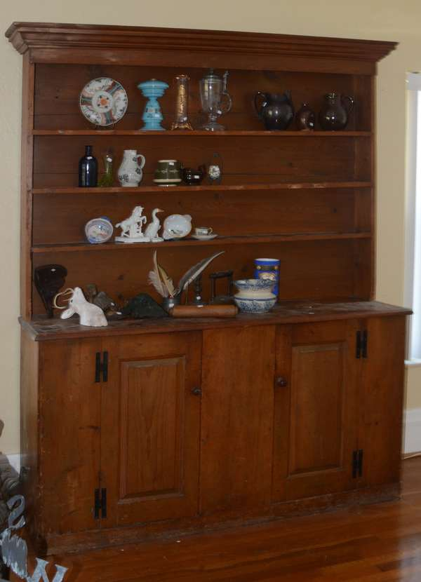 18th C. two part set-back New England cupboard raised panels, H