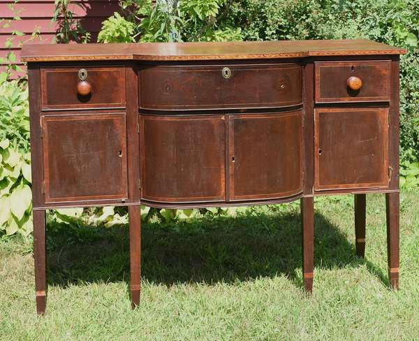 Good Federal Boston sideboard, inlaid with lunettes along the top edge and banded drawers, likely the work shop of John and Thomas Seymour Boston, ca.1810, Chellis family