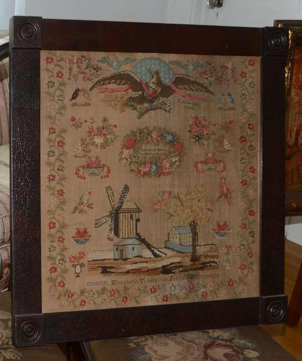 Needlework sampler, American, dated 1837 Elizabeth Thompson with Federal eagle, windmill, 21