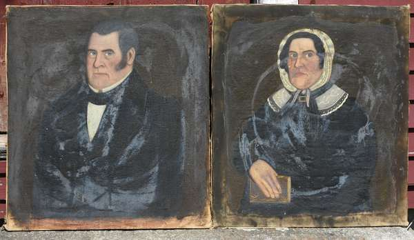 Pair of early 19th C. portrait paintings, found in the Chellis family attic