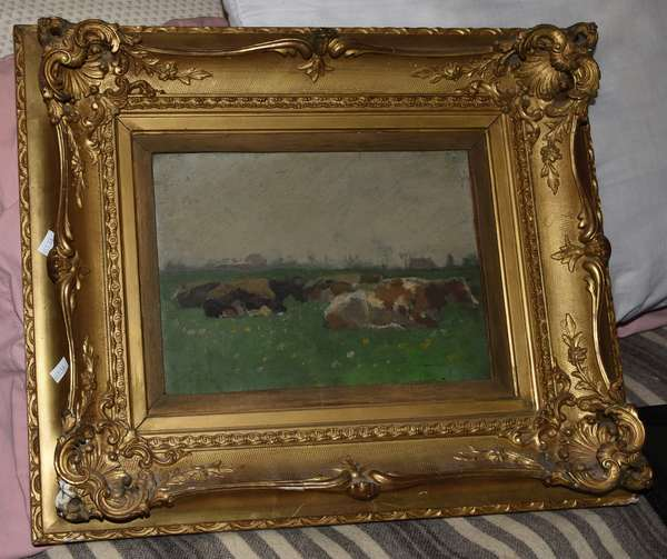Oil painting on board of cows, 8