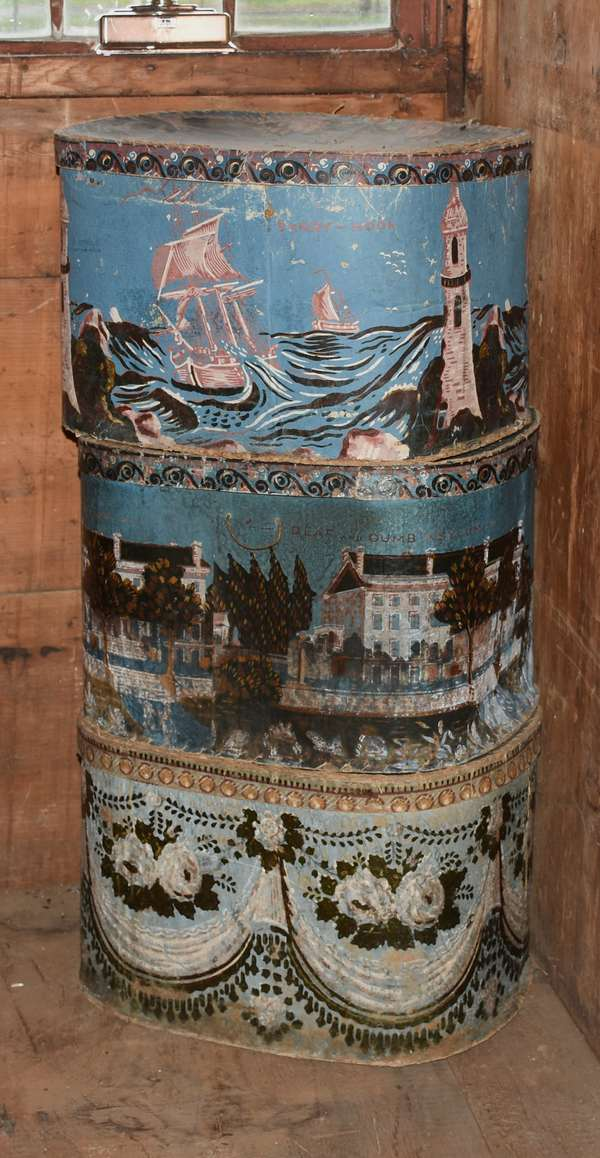 Group of three 19th C. wall paper hat boxes, generally 11