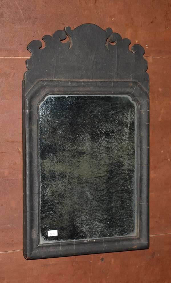 Queen Anne courting mirror in black paint, 19