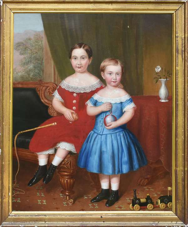 19th C. American school portrait of two children, one hiding a Christmas ball with toy train on floor, ca.1840, 30