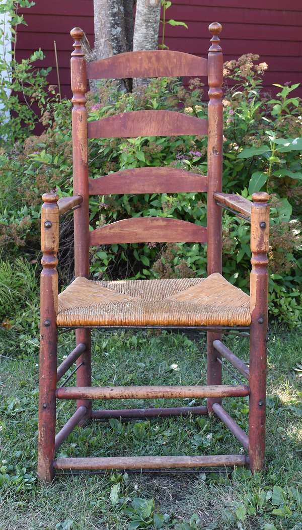 18th C. ladder back chair in original red paint