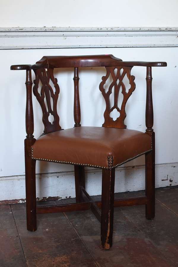 Maple Chippendale corner chair with Italian leather upholstered seats, pierced splats, cross stretcher