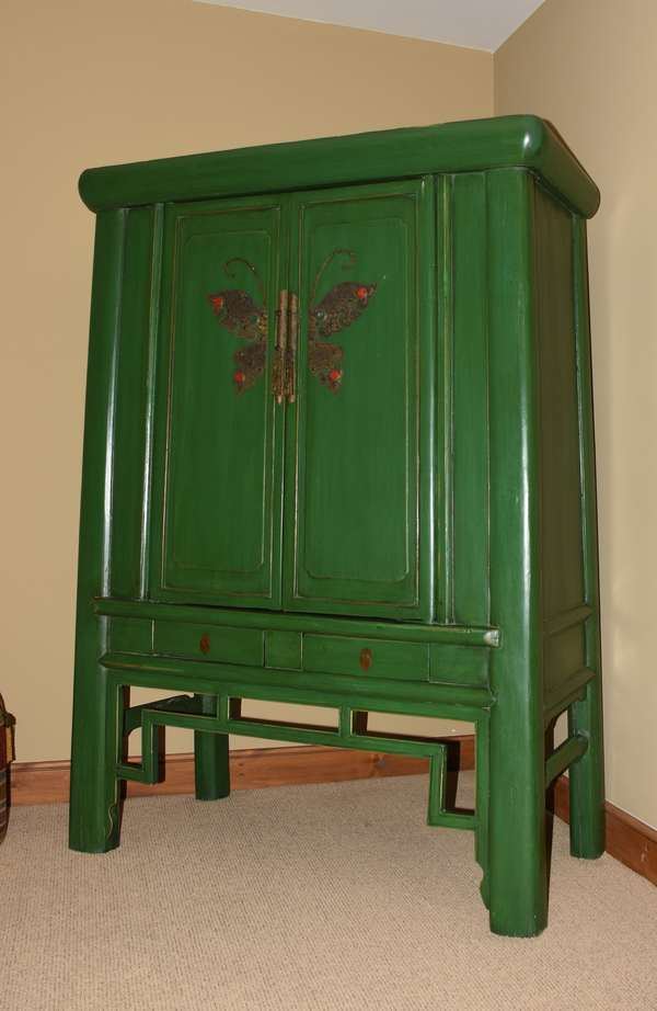 Chinese wooden green butterfly wardrobe with provenance, 70