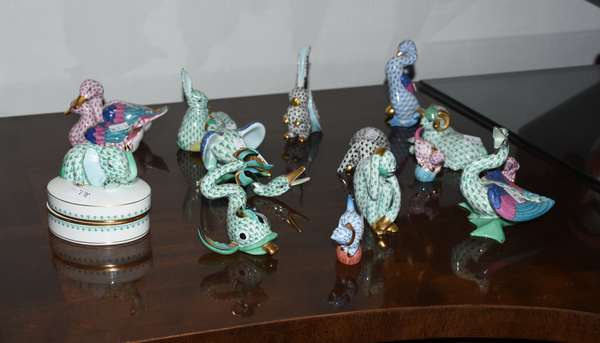 Collection of Herend figurines including ducks, rabbits, elephants etc., 14 pieces, sizes up to 4.5