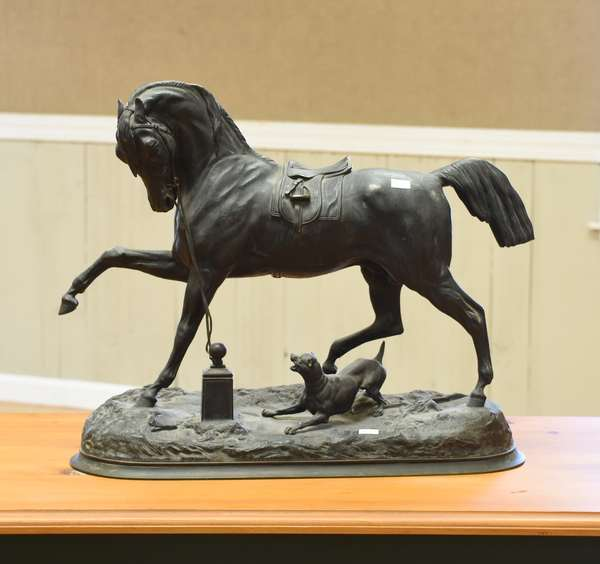 Sculpture of a horse with dog, signed P. Lenordez (Pierre Lenordez, French), bronze, 19