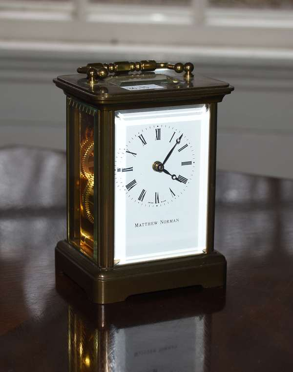 Brass and glass carriage clock, Matthew Norman, 5.5