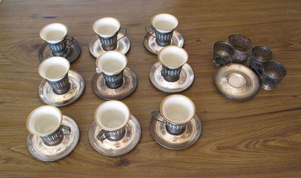 Set of Lenox cups with sterling inserts