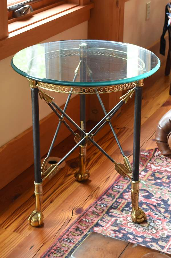 Brass and iron drink table with glass top, 22