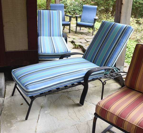 Pair of patio chaise lounges