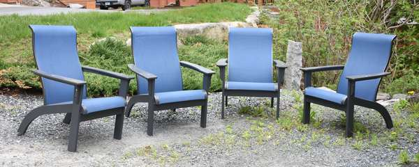 Four patio armchairs Adirondack style