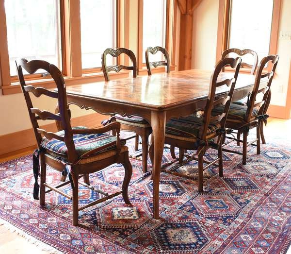 "Inlaid French style dining table, 61""L."