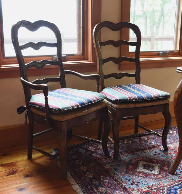 Set of 6 French-style dining chairs, including two armchairs