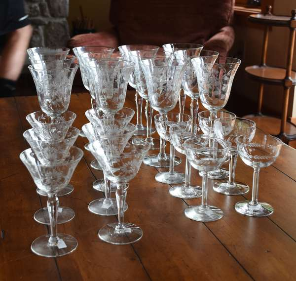 Grouping of etched glass stemware