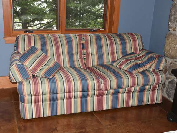 Two-cushion sofa with striped upholstery, Christmas design, by Darien, 6'8