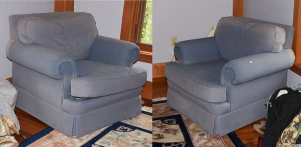 Pair of upholstered club chairs Christmas Interiors by Darien