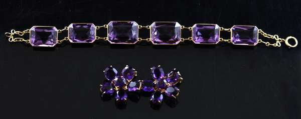 14k yellow gold amethyst jewelry suite: 7