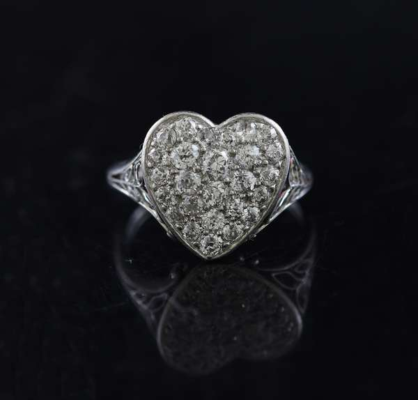 Pretty antique platinum and diamond heart shaped ring, approx. 1.5 ctw of pave set diamonds dated 1917, size 7