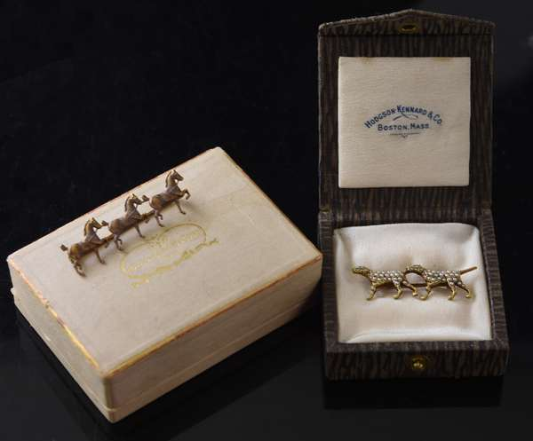 Two 14k gold pins, one with two hunting dogs other of three horses, Hodgson & Kinnard Co.-Boston, 8 grams  (13,17)