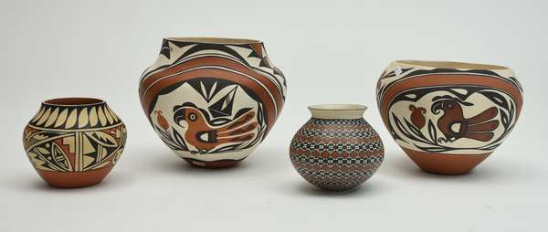 Four Native American Clay pots, two by Dana Acoma, 5