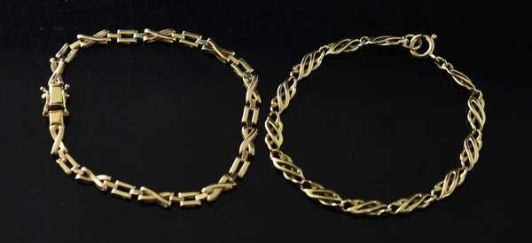 Two14k yellow gold linked bracelets, 7.5
