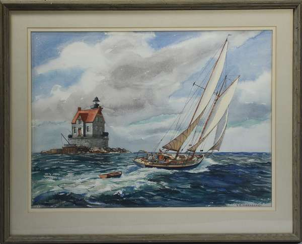 Nautical watercolor signed Y.E. Soderberg Yngve Edward Soderberg, CT., 1896-1971) sailboat with lighthouse, 24