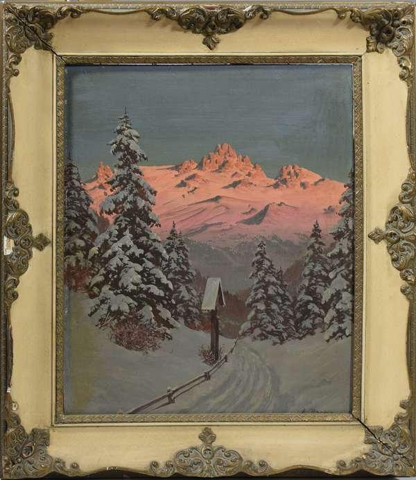 Sunlit alpine landscape signed H. Barma, (Hans Smatlak Barma, Austrian, 1903-1978) oil on masonite, 20