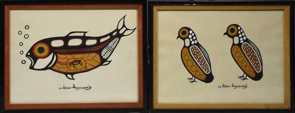 Pair of oils by Allen Angeconeb, Ojibwe artist, fish and quails, 11.5