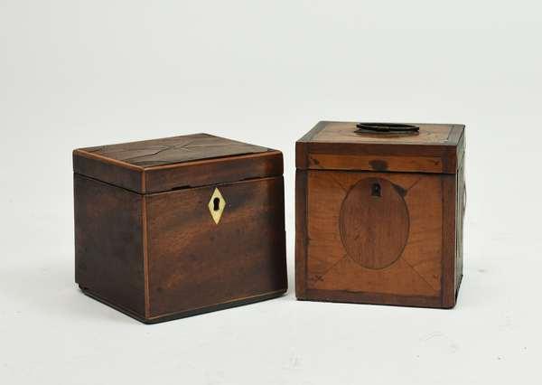 Two English George III half size inlaid tea caddy