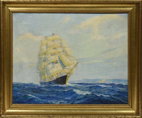 Nautical oil on canvas signed Vickery (Charles Vickery, 1913-1998)