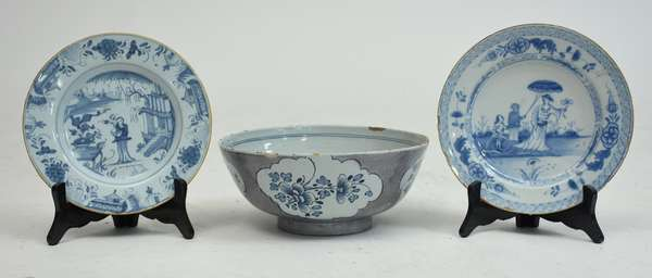 Three pieces of Delftware, two plates with a large center bowl, 10
