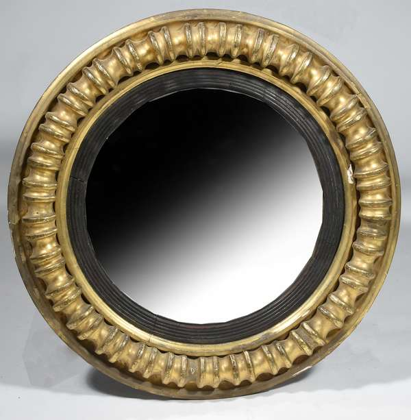 Federal round carved and gilt convex wall mirror, ca.1830, 24