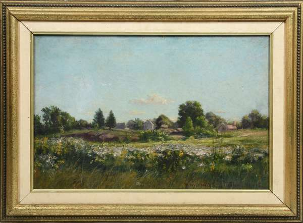 Oil on canvas landscape of summer flowers, white house in background signed George Glenn Newell, 12