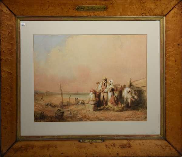 Late 19th C. watercolor, shoreline genre titled