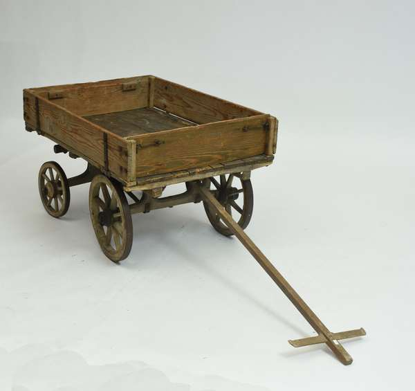 19th C. small size wooden and iron pull wagon, 22