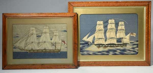 Pair of sailor made nautical needleworks, 12