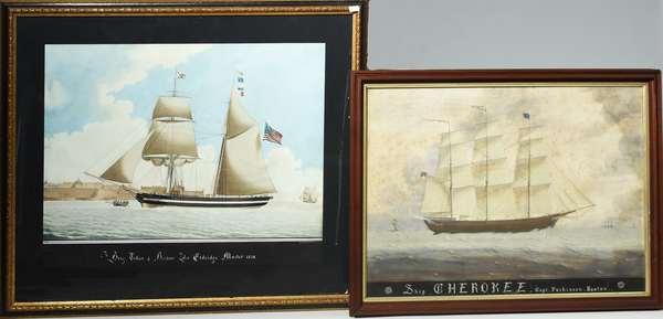 Pair of marine watercolors,