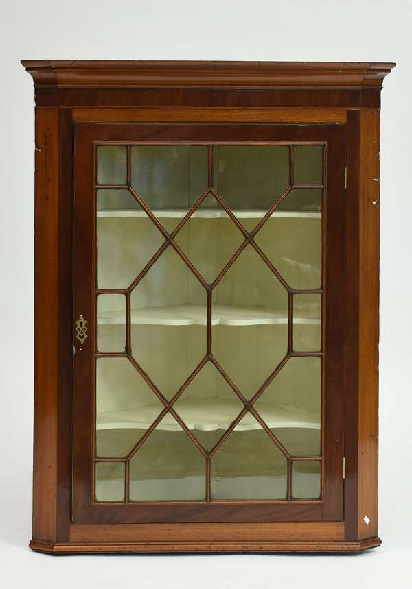 19th C. English mahogany inlaid hanging corner cabinet with sectional glass top 46