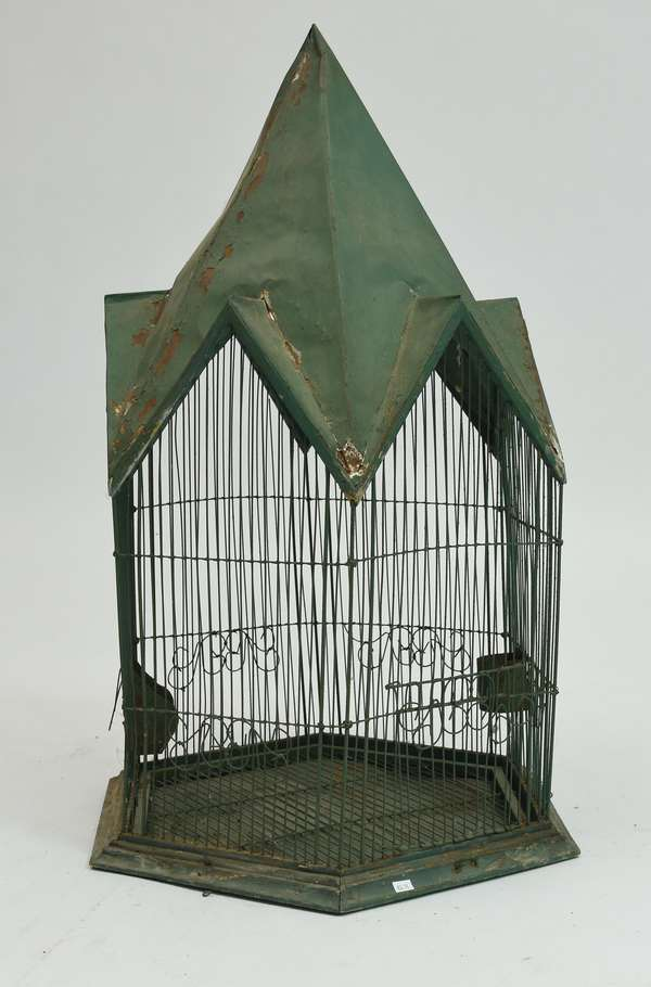 19th C. wire and tin bird cage, old green paint, 32