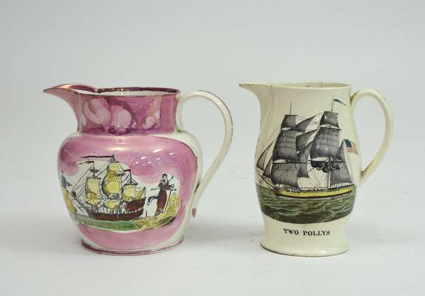 Pair of English pitchers:Liverpool jug with nautical scenes,