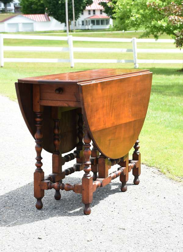 19th C. tiger maple William and Mary style drop leaf gate leg table, nice color, good form! 27