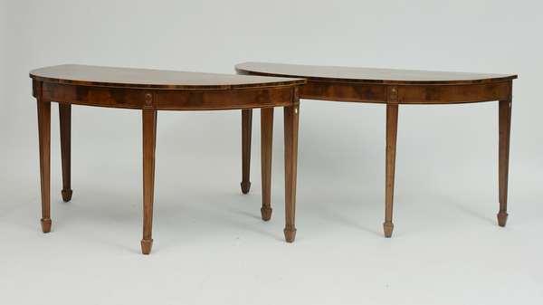 Pair of Hepplewhite inlaid mahogany console tables, 58